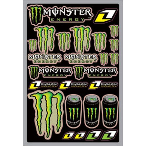 One Industries Monster Energy 2007 Decal Sheet MotoX Motorcycle Graphic Kit Accessories - Size: 4 mil