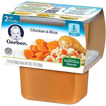 Gerber 2nd Foods, 鸡肉饭 7盎司*8 Chicken Rice, 7-O...