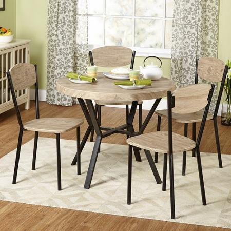 5-piec Contemporary Vie Dining Set, Natural Dining Room Kitchen Set Decor Table Chairs