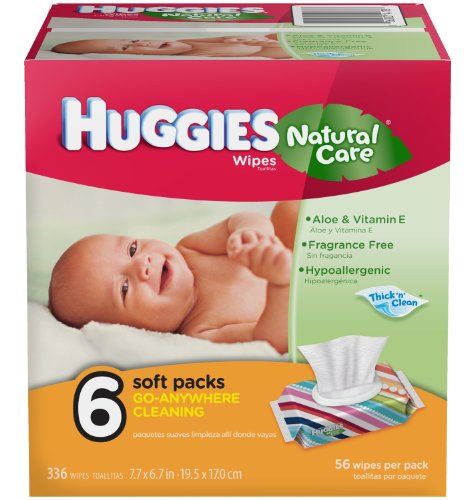 Huggies Natural Care Baby Wipes, 6 packs of 56 wipes (336 total count)