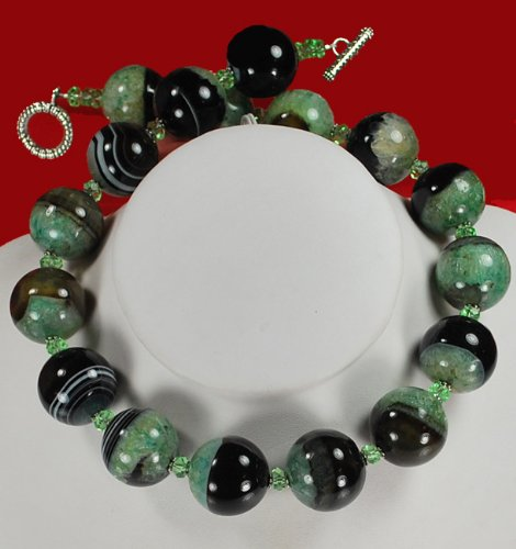 Natural Green Agate Large Round Beads Silver Necklace N2_0711_11