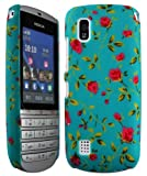 Cellmax Nokia Asha 300 Hard Shell Back Protection Matt Case Little Red Roses With Green Leafs Pattern Cover Skin Clip On Protection