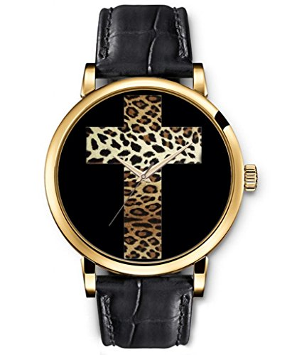 Sprawl Quartz Movement Wristwatch Religious Design Analog Round Face Genuine Black Leather Gold Watches Leopard Print Cross
