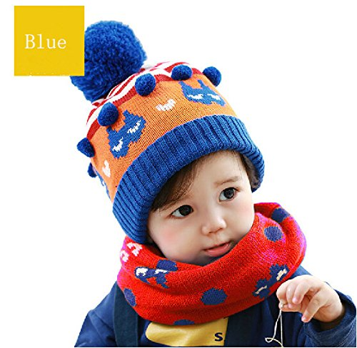 Cat hats new winter kids Hat/Scarf/Mitten Set handmade wool scarf hat suit Hat Cap Earmuff Scarf Gloves Mitten Knitted Plush Hat Scarf two-piece fitted one red