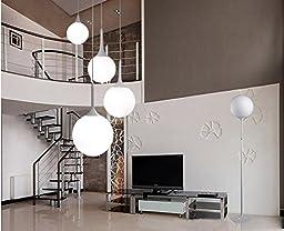Simple single head milk white glass ball chandelier 35cm