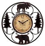"""Wildlife Wire Wall Decoractive Clock 11"""" Total Diameter, 6"""" Clock Diameter"""