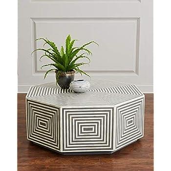 Geometric Hexagonal Black and White Bone Inlay Coffee Table