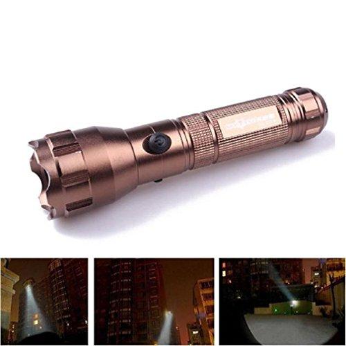 Iuhan Fashion Flashlight Torch Lamp Torch 3500 Lumens 3 Modes CREE XML T6 LED 18650 Battery (Golden)