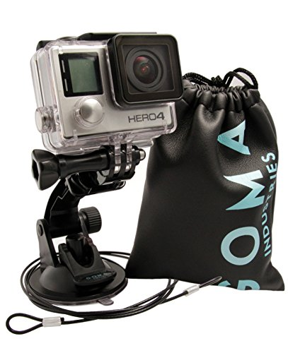 GOMA-Industries-Suction-Cup-Mount-for-GoPro-Hero4-Hero3-Hero2-and-Hero-Cameras-and-camcorders-SJcam-SJ4000-SJ5000-and-xiaomi-Yi-Bundled-with-Tether-and-Carry-bag