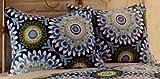 Azure Cotton Two Standard Shams - Blue/White/Navy Medallion Floral