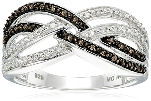 Sterling Silver Diamond Crisscross Ring (1/7 cttw, I-J Color, I2-I3 Clarity)
