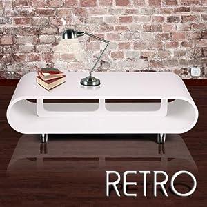 Lounge Tisch Couchtisch Retro Design Wohnzimmer Weiss ...