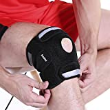 Aodor Black Breathable Knee Brace Support for Sports&Outdoor Activities-With Reflective Strips-New designed Knee Protector for Motorcycle,Ideal Kneepad for Running,Hiking,Riding,Football for safety