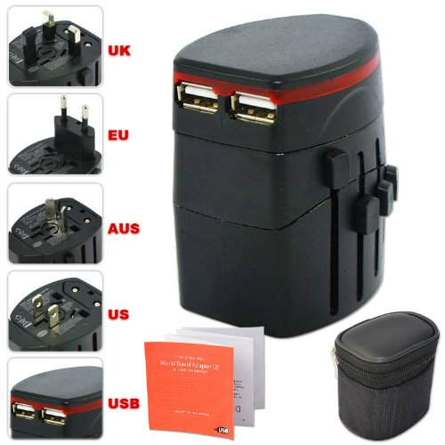 First2savvv Luxury Universal Worldwide Travel Power Adaptor and USB Charger - African / European / American / Australian / Holiday Plug Adapter - Covers Over 150 Countries for HP 7 Plus G2 Tablet HP Slate 8 Pro HP Omni 10 Tablet HP Slate 10 HD ARCHOS 80 h