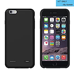 iPhone 6 / 6s Battery Case, Gomeir Ultra Slim Extended Battery Case External Protective Battery Case Back Up Power Bank with 2500mAh Capacity, Lightning Charging Port, Earphone port (Black)