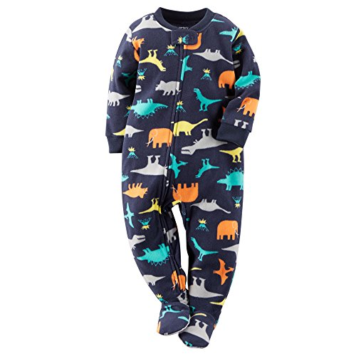 Carter's Boys Footed 1 Piece Fleece Sleeper Pajamas (6, Navy Blue Dinosaurs)