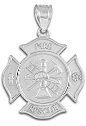 Sterling Silver Solid Badge Rescue Firefighter Pendant
