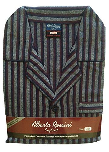 Herren Flanell gebürstet Baumwolle Winceyette Schlafanzug Pyjama Gr. M bis XXL Gr. Large,  - Navy/Red Thick Stripe