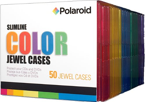 Polaroid PREJC00050C CD and DVD Slimline Color Jewel Case, 50-Pack