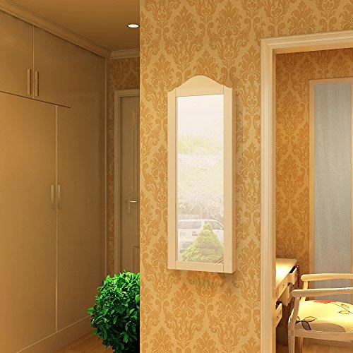 songmics schmuckschrank spiegelschrank wandspiegel zum h ngen wei t r mit magnetverschluss 96. Black Bedroom Furniture Sets. Home Design Ideas