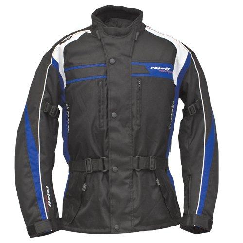 Roleff Racewear 5421 Blouson Moto Textile Roleff Macao, Noir/Bleu/Blanc, XS