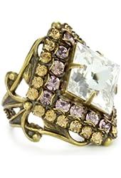 "Sorrelli ""Mirage"" Starburst Crystal Gold-Tone Adjustable Ring"