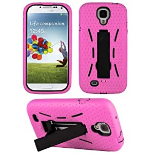 HHI Dash Armor Case with Stand for Samsung Galaxy S4 - Black/Light Pink (Package include a HandHelditems Sketch Stylus Pen)