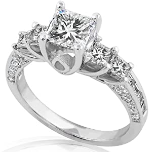 2 2/5 Carat Princess & Baguette Diamond Engagement Ring 18k White Gold