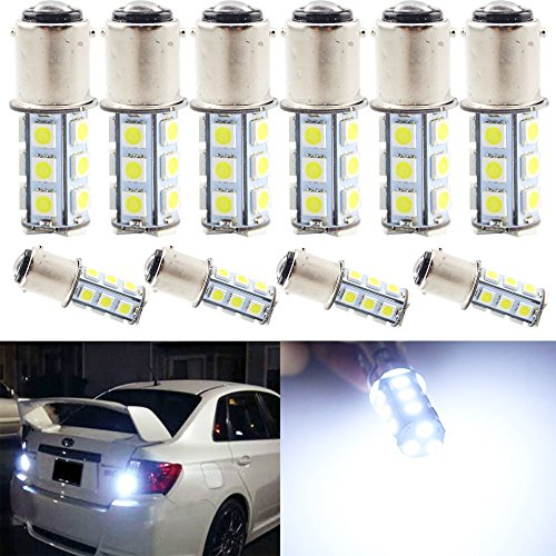 EverBright 10-Pack White 1157 BA15D 1142 1004 1076 18-SMD 5050 LED Replacement for Car Bulb Tail Brake Light Bulb Backup Lamp Parking Side Marker Lights DC 12V (1004 Bulb compare prices)