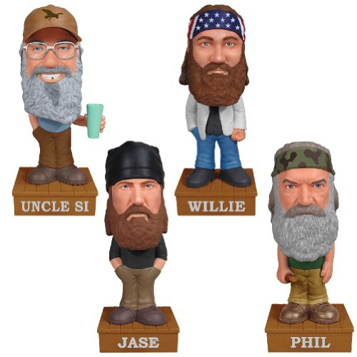 (Set of 4) Duck Dynasty Talking Bobbers - Bearded Robertson Family Bobbleheads - 1