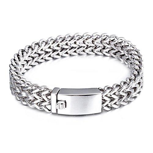 Men's Stainless Steel Two-strand Wheat Chain Bracelet