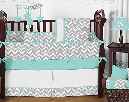 Gray and Turquoise Chevron Zig Zag Gender Neutral Baby Bedding 9 pc Boy or Girl Crib Set - 1