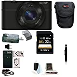 Sony DSC-RX100 DSCRX100 20.2 MP Exmor CMOS Sensor Digital Camera with 3.6x Zoom + 32GB Class 10 Memory Card + Wasabi Replacement NP-BX1 battery + Sony Soft Carry Case + Accessory Kit