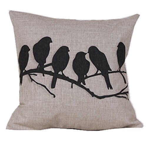 "Cotton Linen Square Decorative Throw Pillow Case Cushion Cover Bird Branch with Birdcage 18 ""X18 """