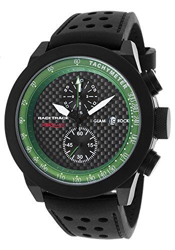 Glam Rock Racetrack Reloj de hombre cuarzo suizo 48mm cronógrafo correa de silicona dial negro GRT29117F-N
