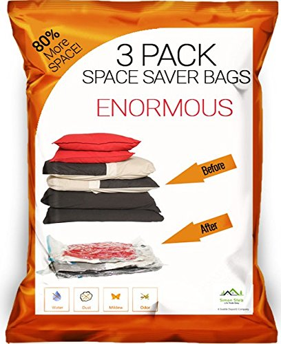 Simon Stelz Enormous Premium Vacuum Storage Bags - 3 Pack. Largest Vacuum Bags on Amazon. For Blankets, Comforters & Cushions (Vacuum Store Bags compare prices)
