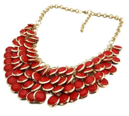 red Chunky Multi Layers Resin Gem Round Beads Statement Bib Collar Necklace(wp-55)