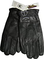 Fleece Lined Thermal Insulated Genuine Black Leather Mens Gloves (L)