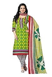 Parchayee Women's Yellow Geometric Print Cotton Dress Material