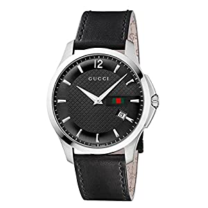 Gucci G-Timeless Collection Men's Quartz Watch with Black Dial Analogue Display and Black Leather Strap YA126304