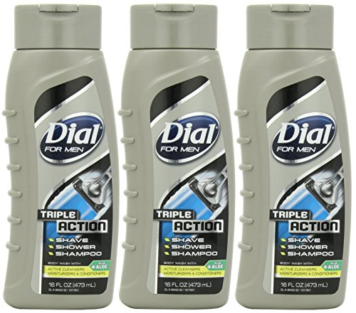 Dial For Men Body Wash, Triple Action, 16 Ounce (Pack of 3) (Dial Triple Action compare prices)