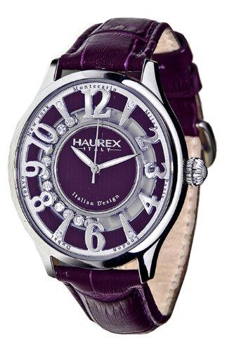 Haurex Italy Purple Dial Preziosa Watch #FA336DP1 - Reloj de mujer de cuarzo, correa de piel color morado