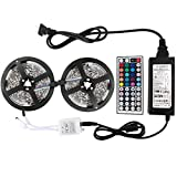 WenTop® Led Strip Lights Kit Non-waterproof SMD 5050 32.8 Ft (10M) 300leds RGB 30leds/m with 44key Ir Controller and 12V 6A Power Supply for Trucks Boats Kicthen Bedroom and Sitting Room