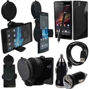 BAAS® Sony Xperia Z - Support Voiture Ventouse pour Fixation sur Pare Brise Avec 360 ° Degré rotation fonction+ noir Housse Etui en Silicone Gel + Micro USB câble de données + USB voiture chargeur Adaptateur + Films de protection écran + Stylet