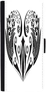 Snoogg Floral Frame Graphic Snap On Hard Back Leather + Pc Flip Cover Lg G2