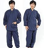 冬用 フリース 作務衣 メンズ あったか さむえ(ご注意:作りがやや大きめです)(Lサイズ, 紺系)