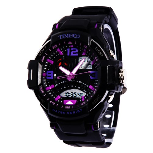 Time100 Led Dual-Time Display Multifunction Purple Numbers Sport Electronic Watch #W40103G.04A