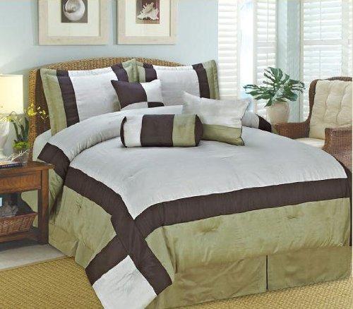 Luxury Home 7-Piece Luxurious Comforter Set, Queen, Celine Sage