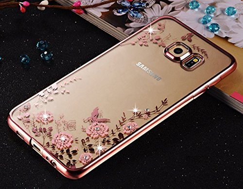 FONOVO Samsung J7 2016 - Shockproof Silicone Soft TPU Transparent Auora Flower Case with Sparkle Swarovski Crystals for Samsung J7 2016 Back Cover (Rose Gold)