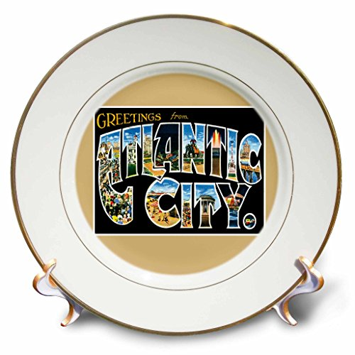 3dRose cp_170292_1 Greetings from Atlantic City New Jersey Scenic Postcard Reproduction-Porcelain Plate, 8-Inch